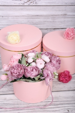 Набор подарочные коробок из 3 шт - Цилиндр Золотой кант розовый d=21, h=17см В743