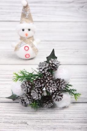 Веточка новогодняя 17 см с белыми помпонами JBP074069