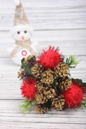 Веточка новогодняя 17 см с красными помпонами JBP074069
