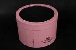 Коробка подарочная одиночная - Круг с окном трансформер Розовая  Р14