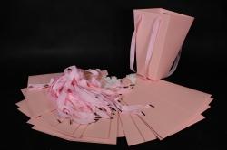 Плайм пакет Конус с ручкой для цветов (12 шт в уп)  Розовый 27*15*9  F9