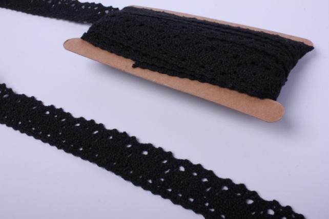 140krb лента кружево чёрное декор. 3cм*4,6м п