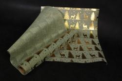 Искусственный Джут Новый Год (50 см х 4,5 м)  Хаки с золотым принтом