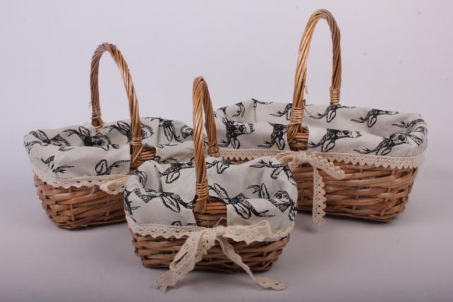 Набор корзин плетеных из 3 шт  (ива, ткань)
