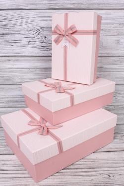 Набор подарочных коробок из 3 шт - Прямоугольник рифленый розовый 33*24*11см В751