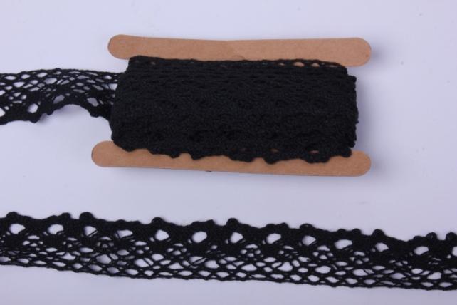 Лента кружево чёрное декор. 3cм*4,6м П 146KRB