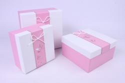Набор подарочных коробок из3 шт - Квадрат с бабочками белая крышка