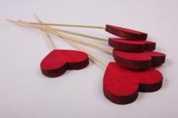 Вставка Сердце красное дерево 30см  (5шт в уп)  31  3394