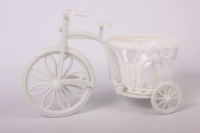 Кашпо Велосипед с корзиной 16*8см плетеный пластик с лентой H1606129  5378