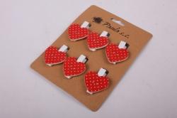 Прищепка  Сердца красные в горошек  (6шт в уп)  6310   D7J0029