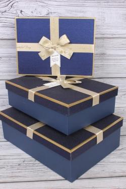 Набор подарочных коробок из 3 шт - Прямоугольник блестки синий 29*21*9см  В755