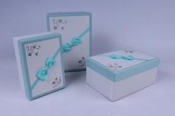 Набор подарочных коробок из3 шт - Прямоугольник тиснёный с бантом Белый