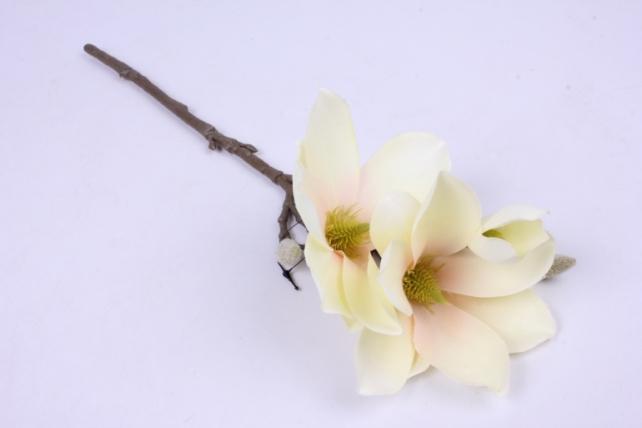 Искусственное растение - Веточка Магнолии 35 см ваниль SUN488