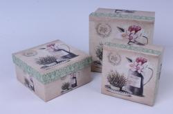 Набор подарочных коробок (3 шт) - Квадрат Лаванда в кувшине