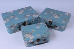 Набор подарочных коробок (3 шт) - Чемодан в цветочек голубой