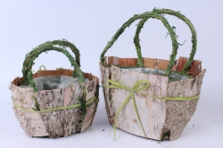 Кашпо набор корзин (берёза) из 2-х  натуральный/зеленый