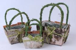 Кашпо набор корзин (берёза) из 3-х  натуральный/зеленый