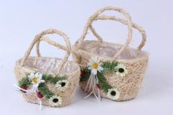 Кашпо набор корзин (кукуруза) из 2 шт натуральный