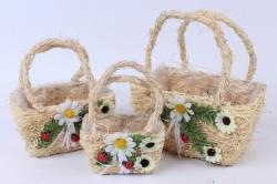 Кашпо набор корзин (кукуруза) из 3 шт натуральный