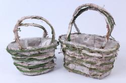 Кашпо набор корзин (ротанг, кора) из 2 шт. зеленый/выбеленный