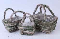 Кашпо набор корзин (ротанг, кора) из 3 шт. зеленый/выбеленный