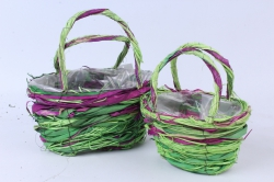 Кашпо набор корзин (ротанг) из 2 шт. зеленый/фиолетовый