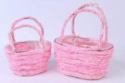 Кашпо набор корзин (ротанг) из 2 шт. розовый