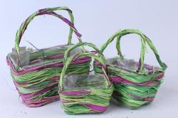 Кашпо набор корзин (ротанг) из 3 шт зеленый/фиолетовый