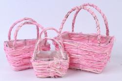 Кашпо набор корзин (ротанг) из 3 шт розовый