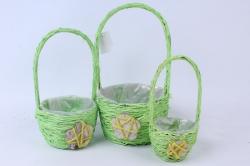 Кашпо набор корзин (ротанг) из 3-х зелёный