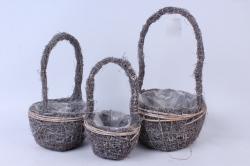 Кашпо набор корзин (ротанг) из 3-х коричневый