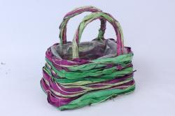 Корзина ротанг зеленый/фиолетовый 19x11 h=13/23