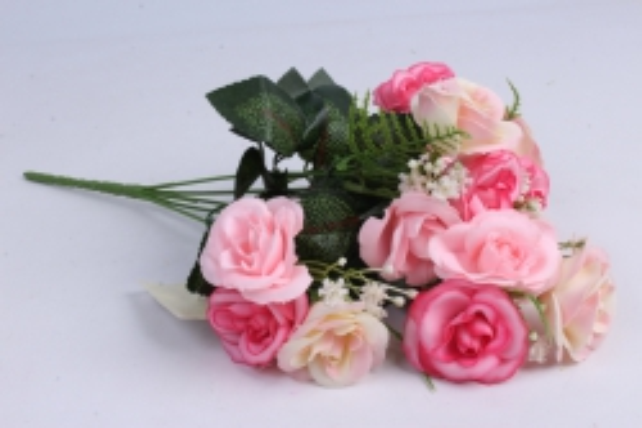 Искусственные растения - Розочка с гипсофилой фуксия/малиновая 35см