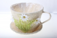 17-742-3 Кашпо из сизаля Чашка с ромашкой (h12 d17см)
