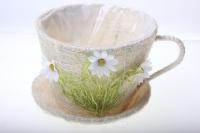 кашпо для цветов 17-742-3 кашпо из сизаля чашка с ромашкой (h12 d17см) 2469