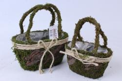 Комплект корзин из травы набор из 2-х зеленый