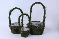 Комплект корзин из травы набор из 3-х зеленый