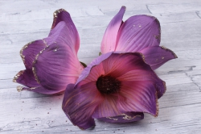 Магнолия ЦВЕТОК-бутон Cиренево-розовый с блестками (3шт в уп)  FME071722