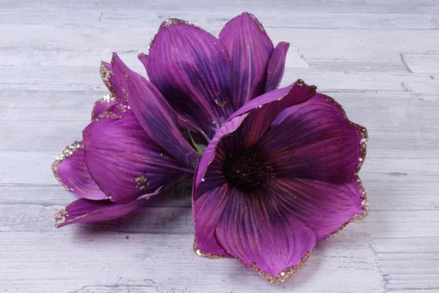 Магнолия ЦВЕТОК-бутон Фиолетовый с блестками (3шт в уп)  FME071722