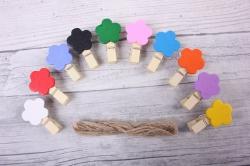 Прищепка  с цветком со шнуром  (10шт в уп) DY103