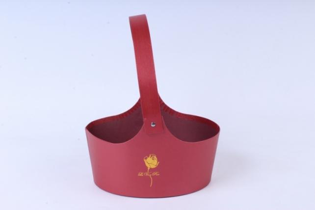 Кашпо Овал с ручками Красный 18x12 h=8,5/25cm  9449