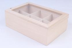 Деревянная заготовка - Шкатулка со стеклом на 6 отделений