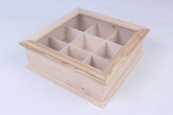Деревянная заготовка - Шкатулка со стеклом на 9 отделений