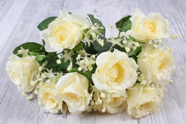 Искусственное растение - Роза букет шампань
