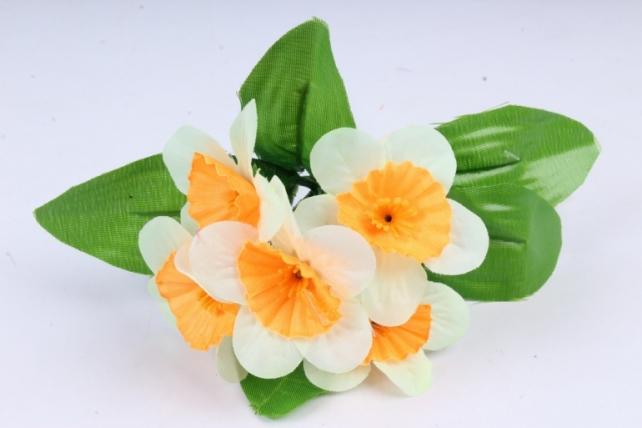 Искусственное растение - Нарциссы  шампань-оранжевые