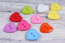 Пуговицы Сердца   цветные  микс (10шт в уп)