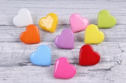 Пуговицы Сердца на ножке  цветные  микс (10шт в уп)