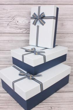 Набор подарочных коробок из 3 шт - Прямоугольник рифленый синий 33*24*11см В751