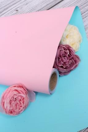 Матовая бумага двухсторонняя 50см*10м 50мкр., цв. розовый/бирюза  4263 Н