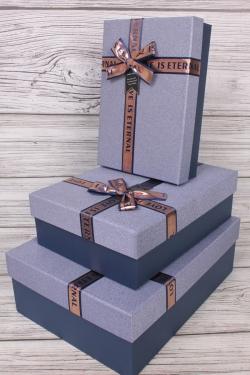 Набор подарочных коробок из 3 шт - Прямоугольник блестки деним 33*24*10см  В754